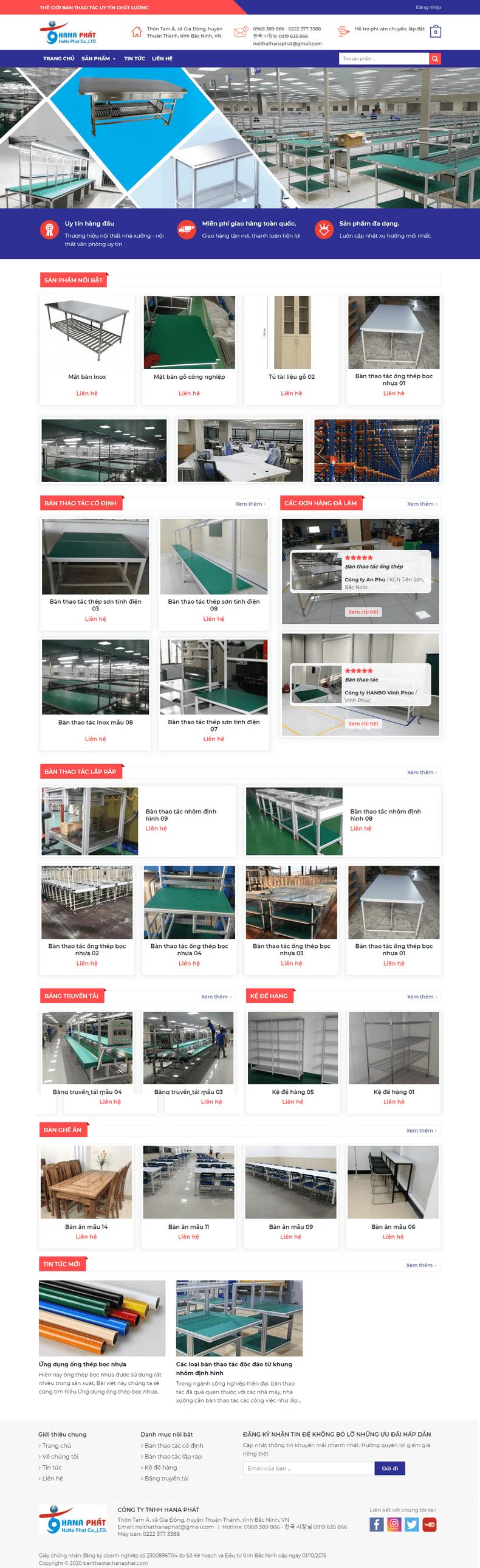 Mẫu website bán hàng bàn thao tác công nghiệp