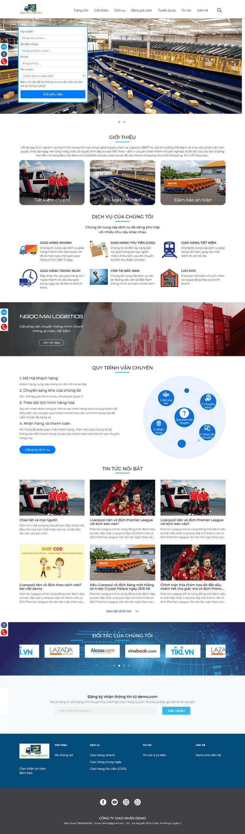 Mẫu website dịch vụ vận chuyển logistics