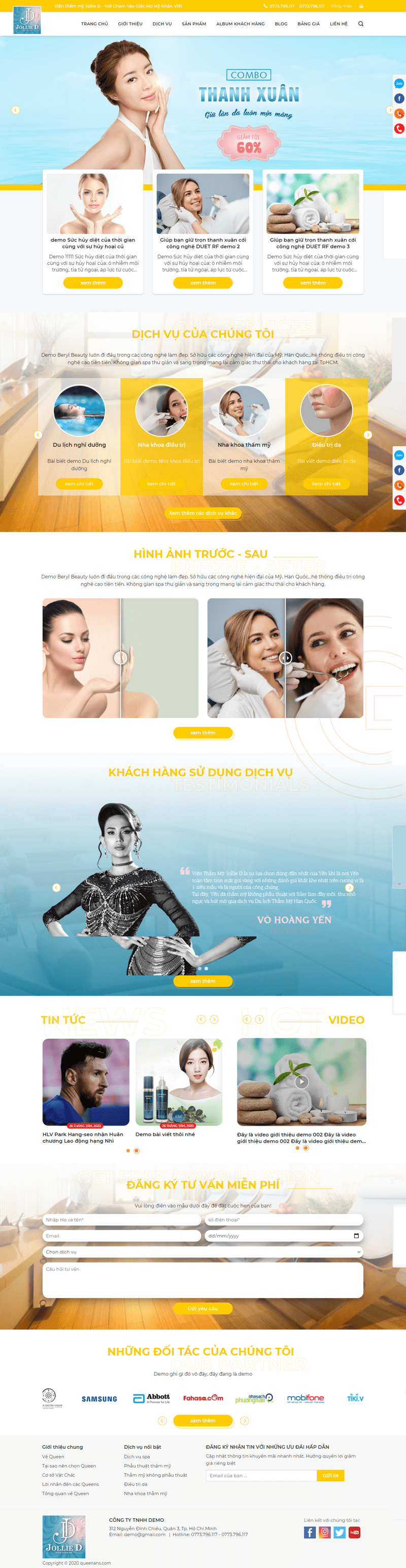 Mẫu website dịch vụ spa tổng hợp có bán hàng