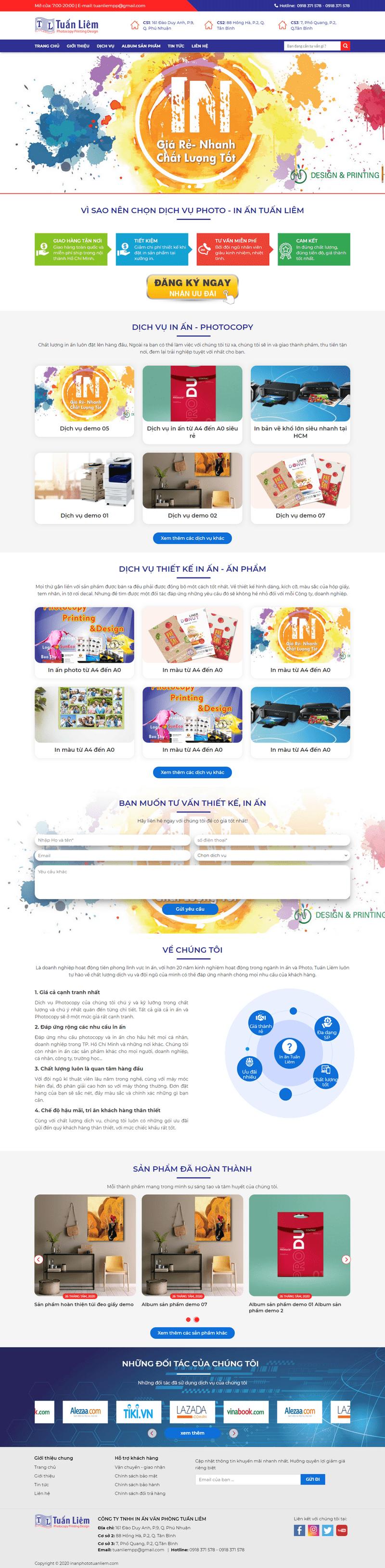 Mẫu web dịch vụ in ấn – photocopy